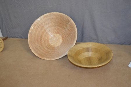 Bowls from a board by Leonard Pearce. One of maple and one of sassafrass.