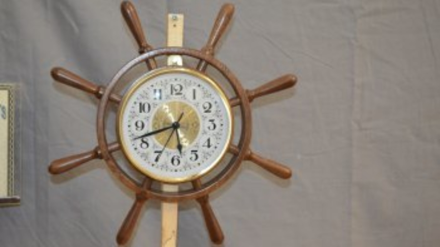 Ships wheel clock by Gale Markley